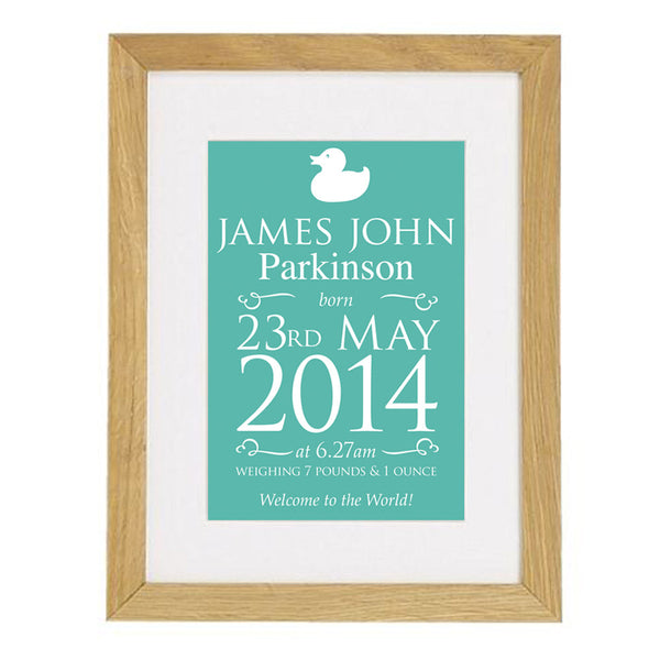 Personalised Birth Announcement Framed Print