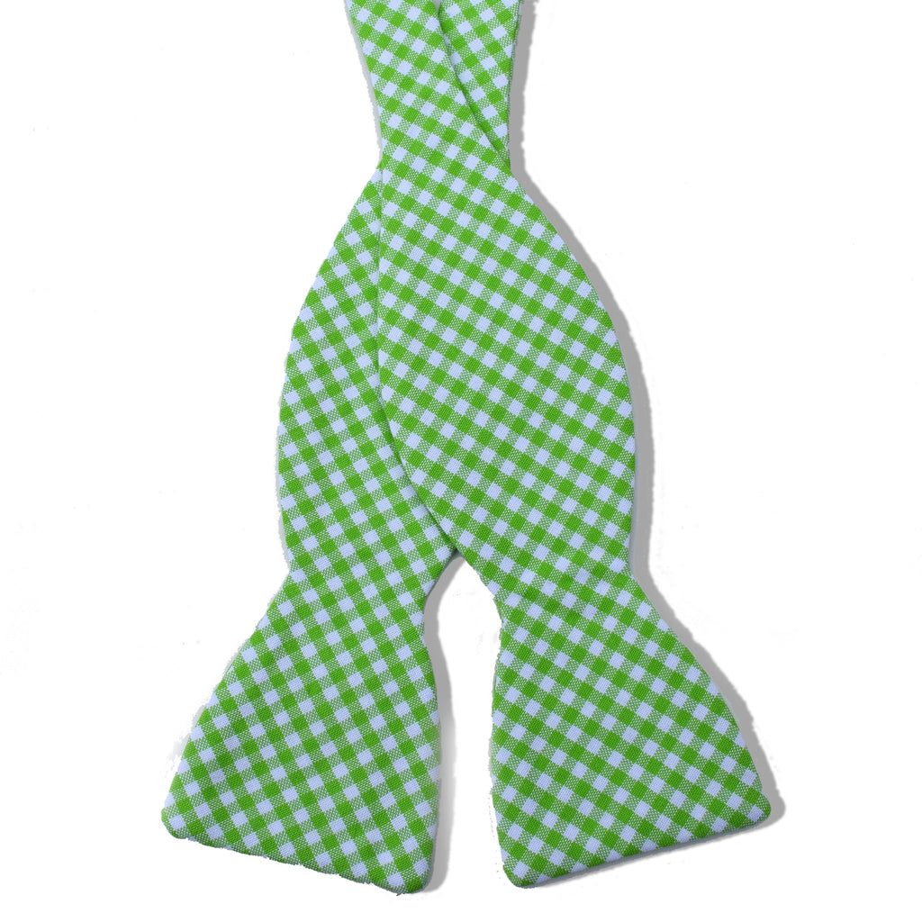 Lexington Gingham Lime Cotton Untied Bow Tie