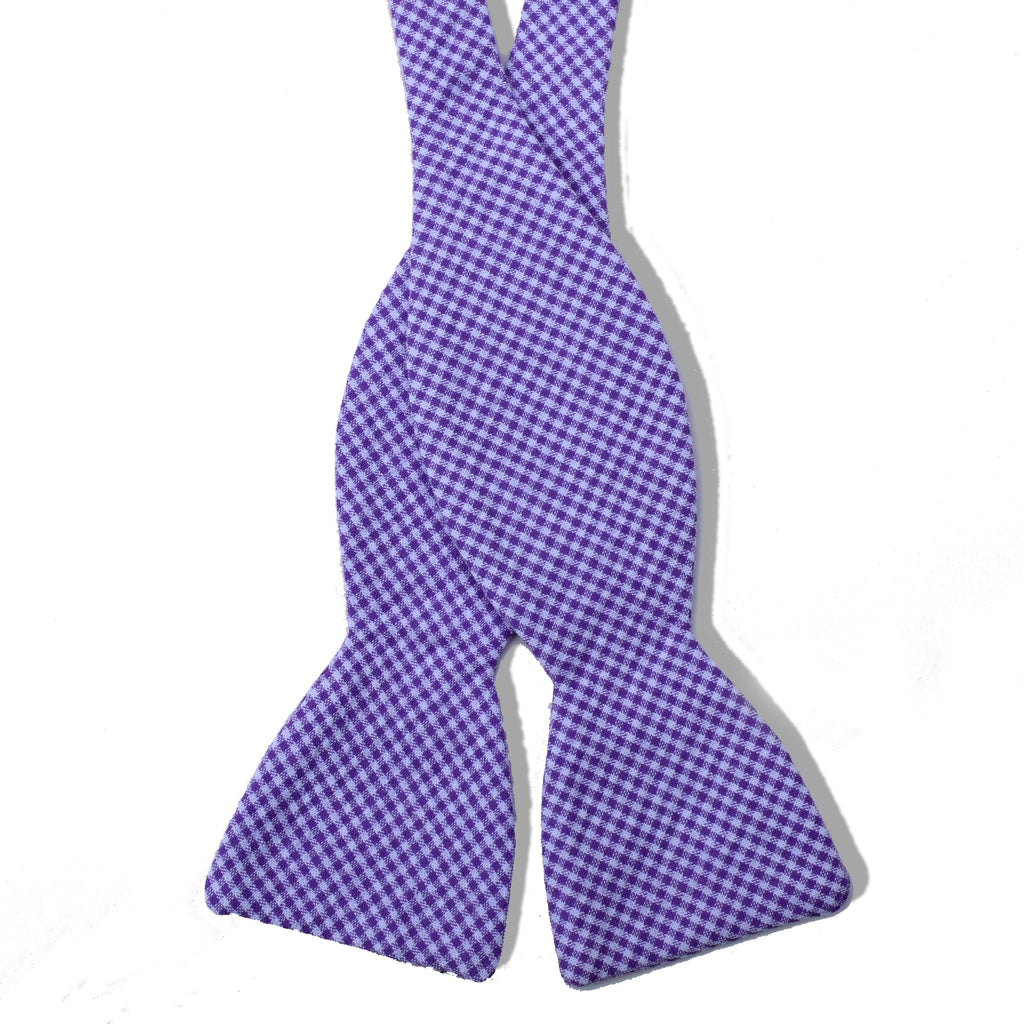 Seersucker Check Lavender Cotton Tied Bow Tie
