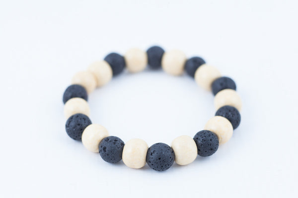 black lava stone/white wooded bracelet - davidshurlan