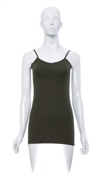 "Cami ""Olive"" de Base Longue avec Fine Bretelle -CR13L 