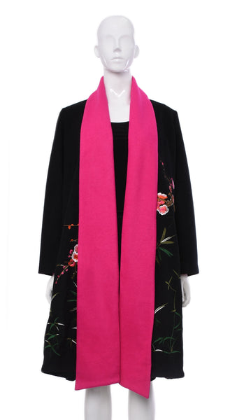 Manteau Noir Collet Fuchsia -VLG8232 | Black Coat Collar Fuchsia -VLG8232