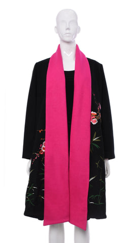 Manteau Noir Collet Fuchsia | Black Coat Collar Fuchsia