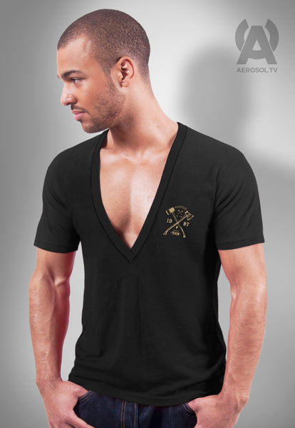 Black deep V neck