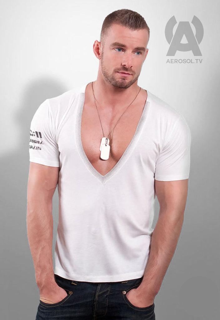 Dog Tag deep V white