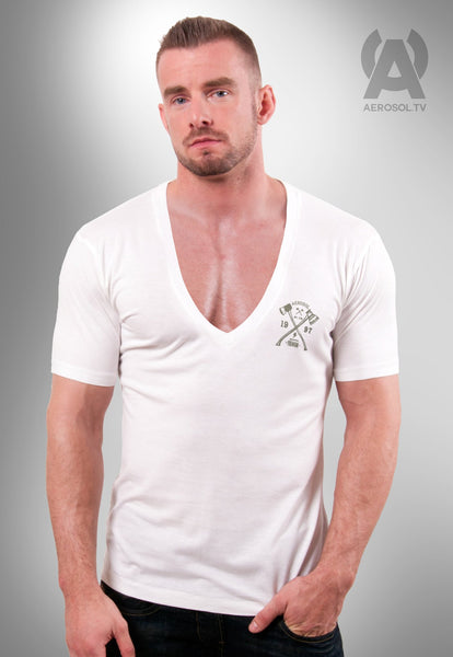 White deep V neck