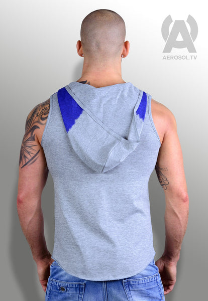supastar hooded vest blue/grey