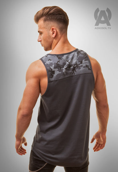 Camo shoulder long tank, grey
