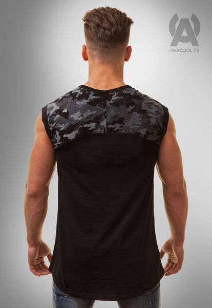 Camo shoulder long vest