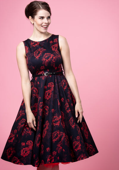 Hepburn Red Floral On Black Juhlamekko-Lady Vintage-Miss Windy Shop