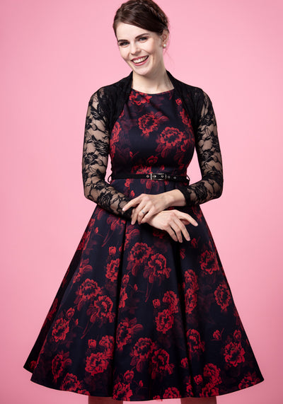 Hepburn Red Floral On Black Juhlamekko