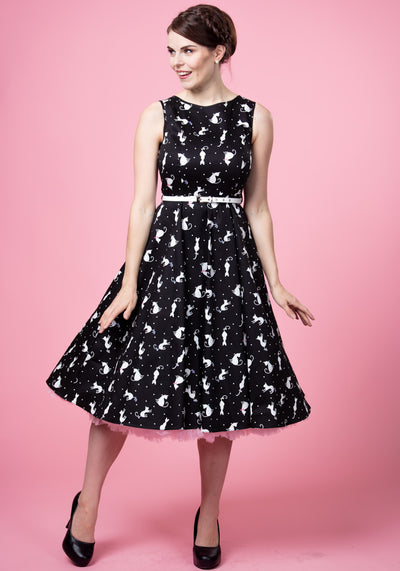 Hepburn Ditsy Cats Kellomekko-Lady Vintage-Miss Windy Shop