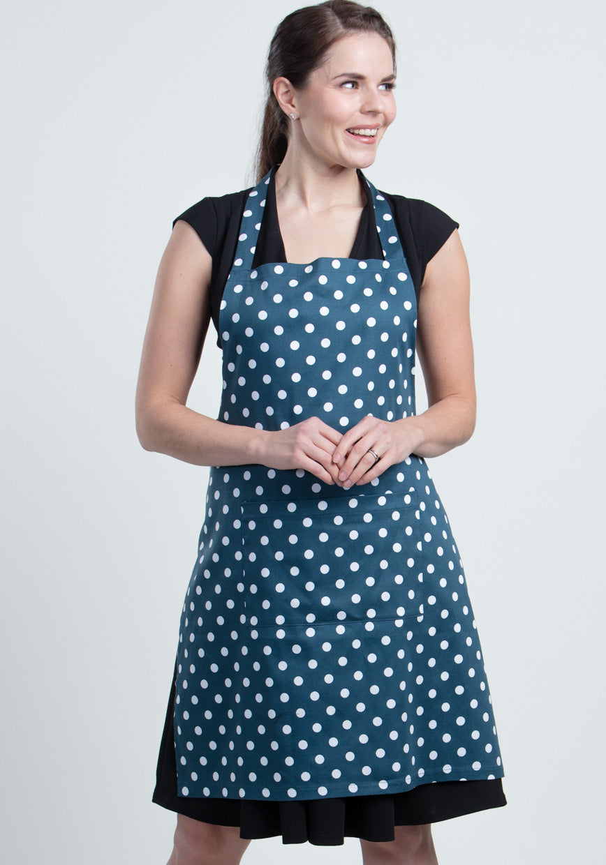 Navy Polka Dot Esiliina-Lady Vintage-Miss Windy Shop