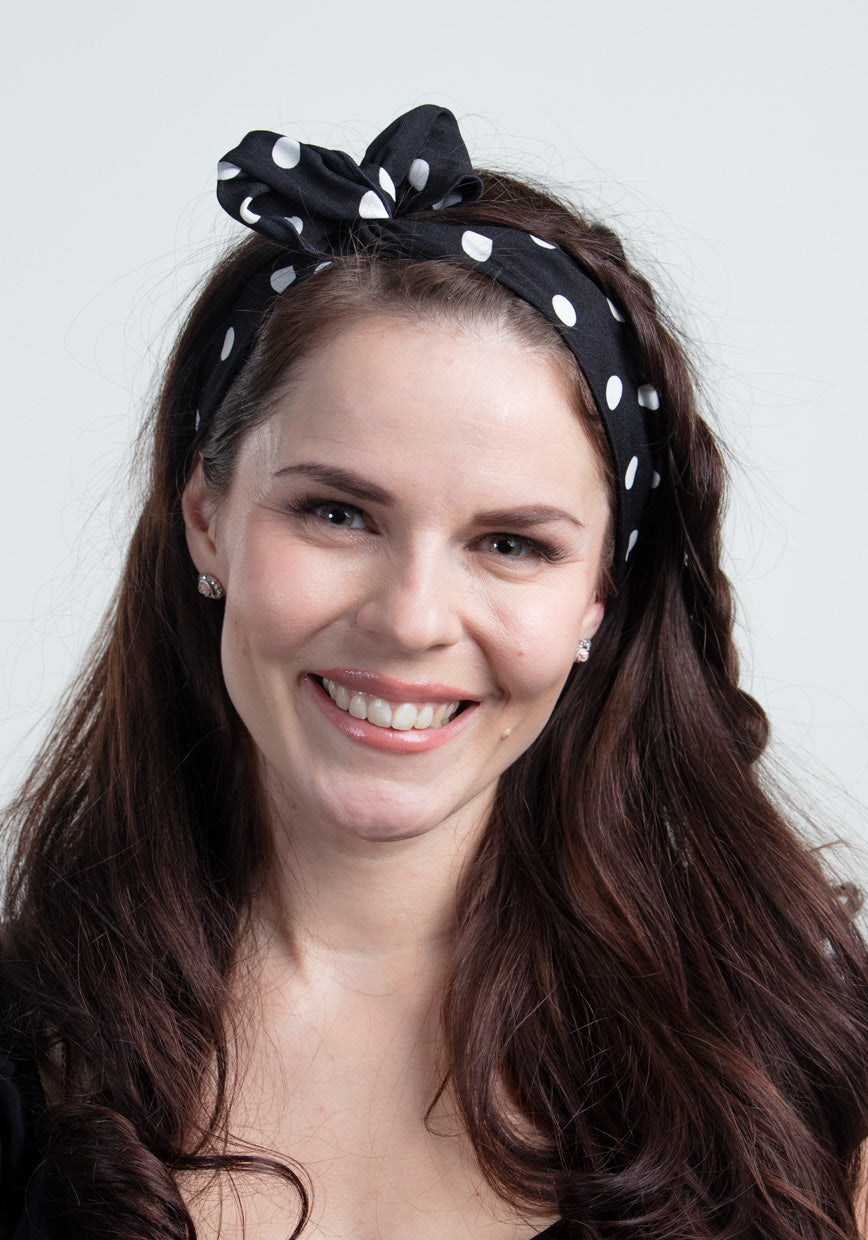 Black Polka Dot Wired Bandana-Collectif-Miss Windy Shop