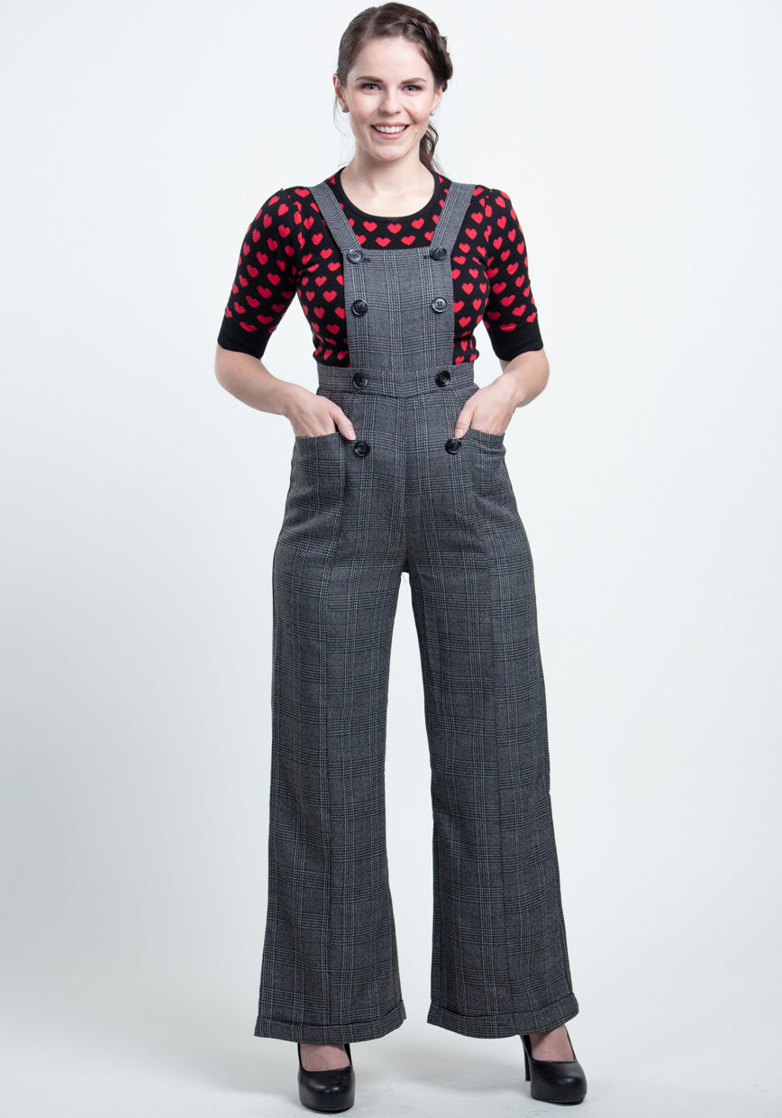 Brenda Librarian Check Dungaree Haalarit-Collectif-Miss Windy Shop