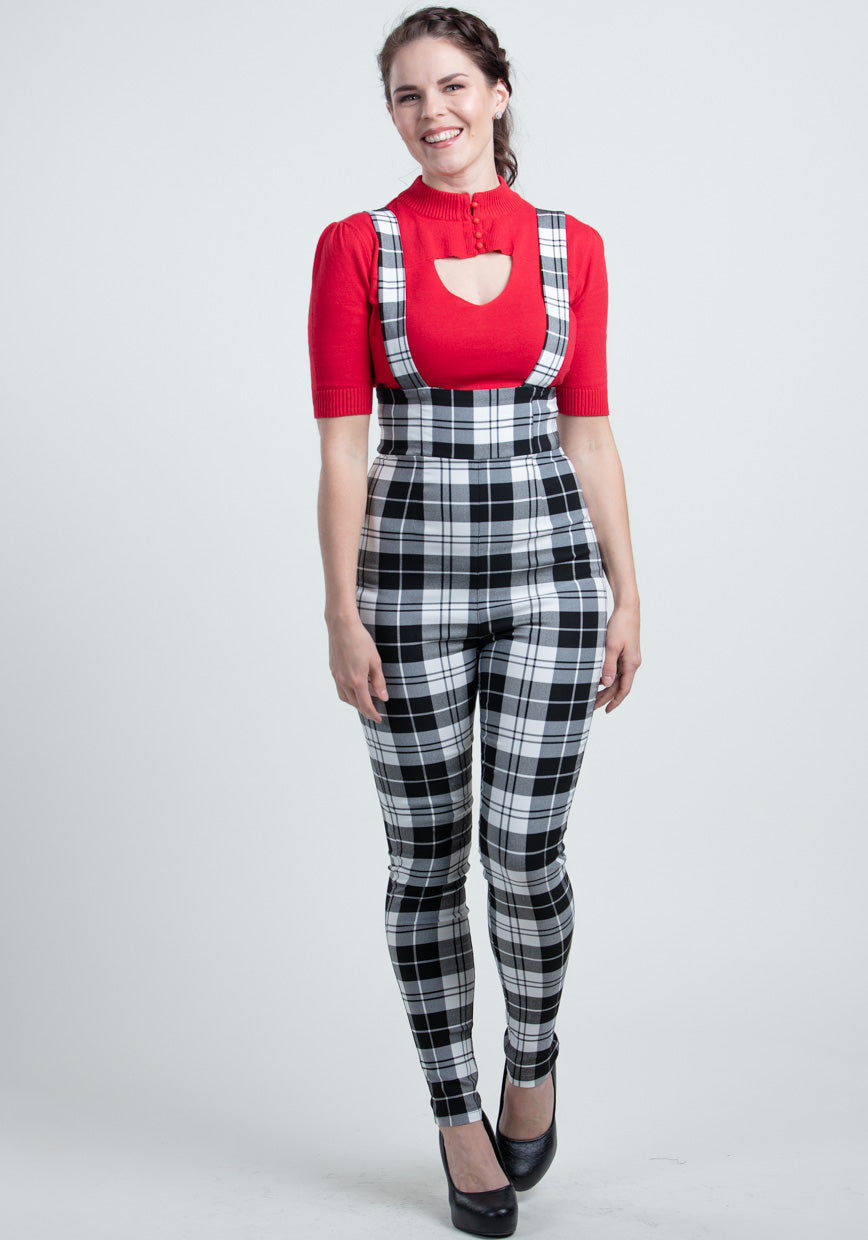Karen Monochrome Check Suspender Haalarit-Collectif-Miss Windy Shop