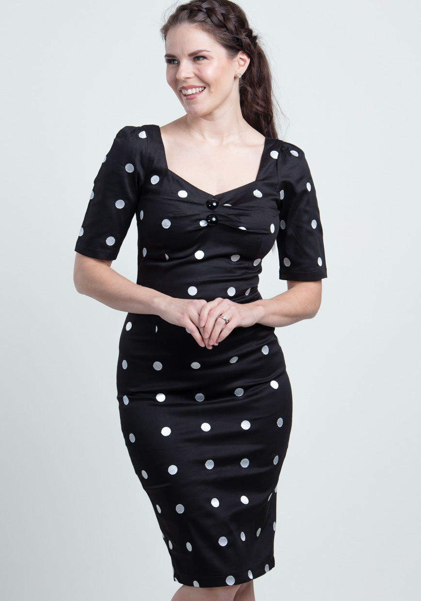 Dolores Pencil Black Crazy Polka Dot Kynämekko-Miss Windy Shop-Miss Windy Shop