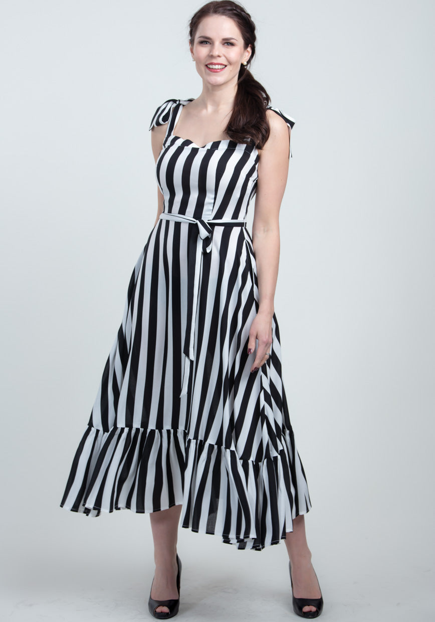 Katrina Black & White Stripe Kesämekko-Collectif-Miss Windy Shop