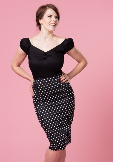 Polly Black Polka Dot Pencil Skirt Kynähame