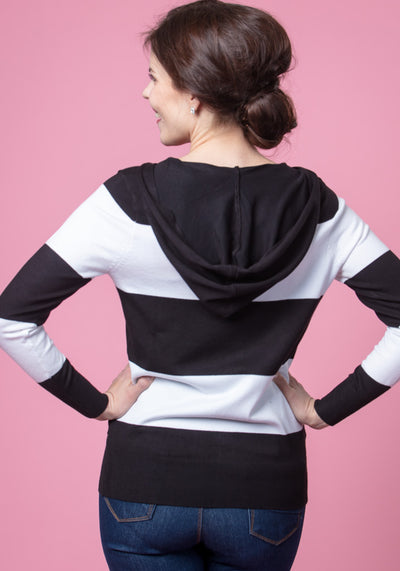 Candy Black & White Stripe Neuletakki-Collectif-Miss Windy Shop