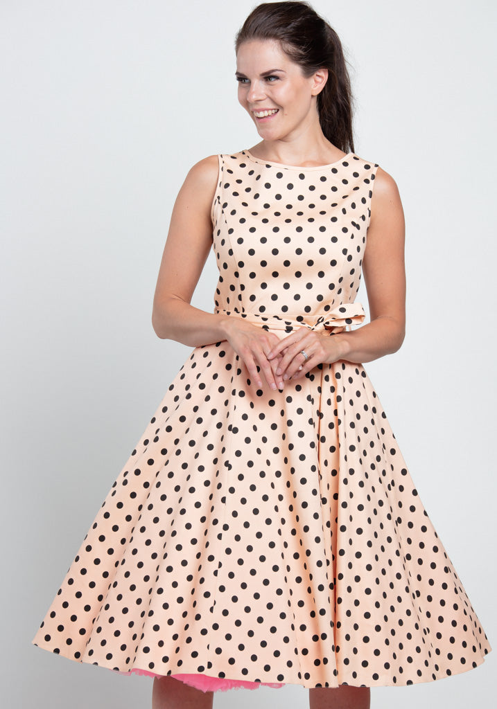 Hepburn Alsean Polka Dot Kellomekko-Lady Vintage-Miss Windy Shop