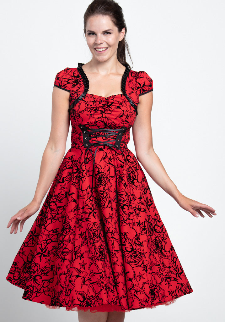 Red Flocked Victorian Kellomekko-Hearts & Roses London-Miss Windy Shop