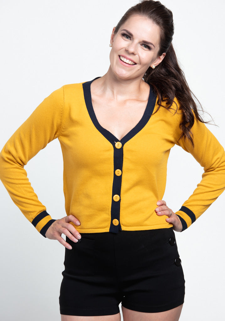 Vicki Contrast Mustard Neuletakki-Collectif-Miss Windy Shop