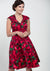 Isabella Red Floral In Burgundy 50-luvun mekko-Lady Vintage-Miss Windy Shop