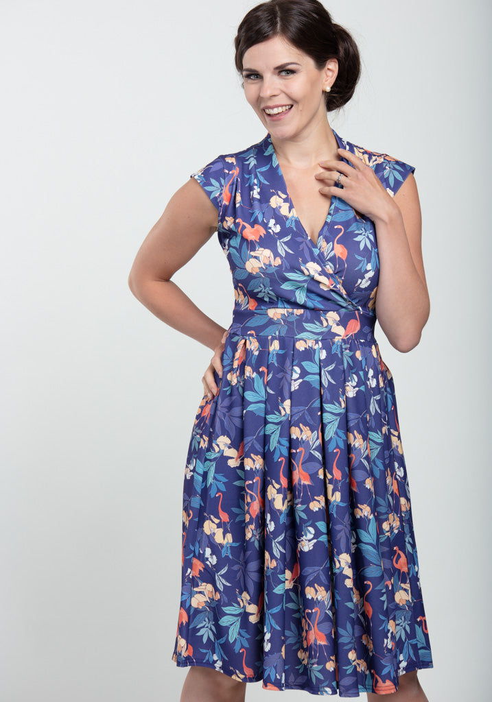 Eva Navy Flamingo Vintagemekko-Lady Vintage-Miss Windy Shop