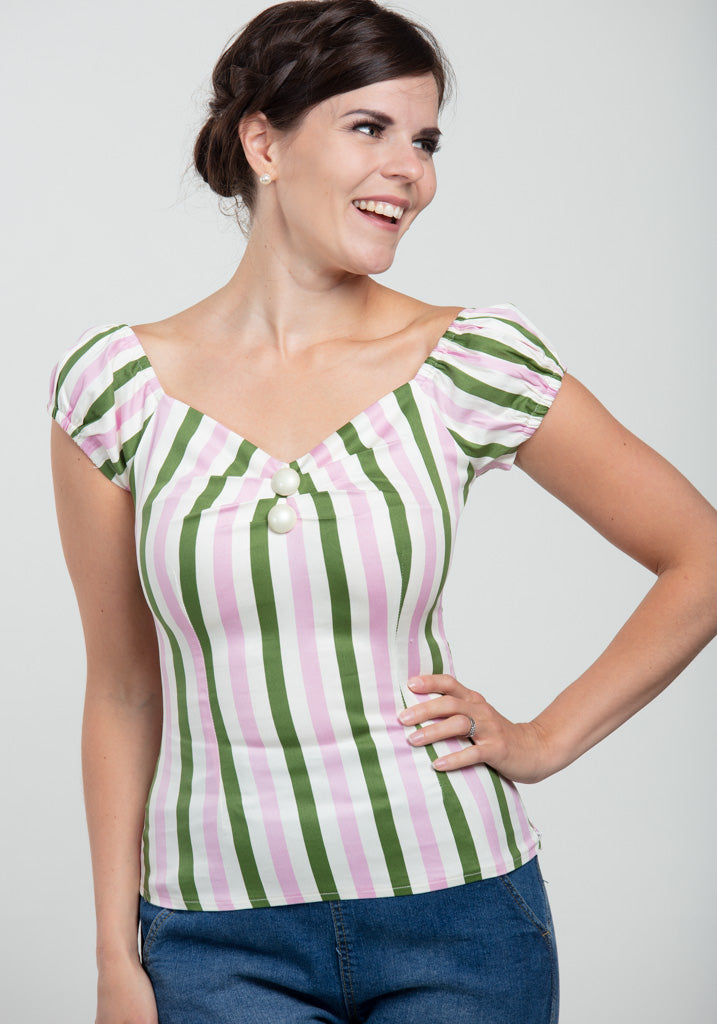 Dolores Strawberry Striped Top-Collectif-Miss Windy Shop