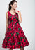 Charlotte Red Floral In Burgundy 50-luvun mekko-Lady Vintage-Miss Windy Shop