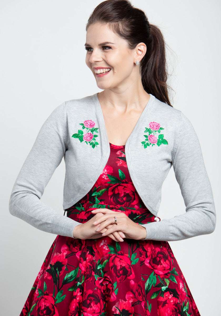 Centifolia Rose In Grey Bolero-Hearts & Roses London-Miss Windy Shop