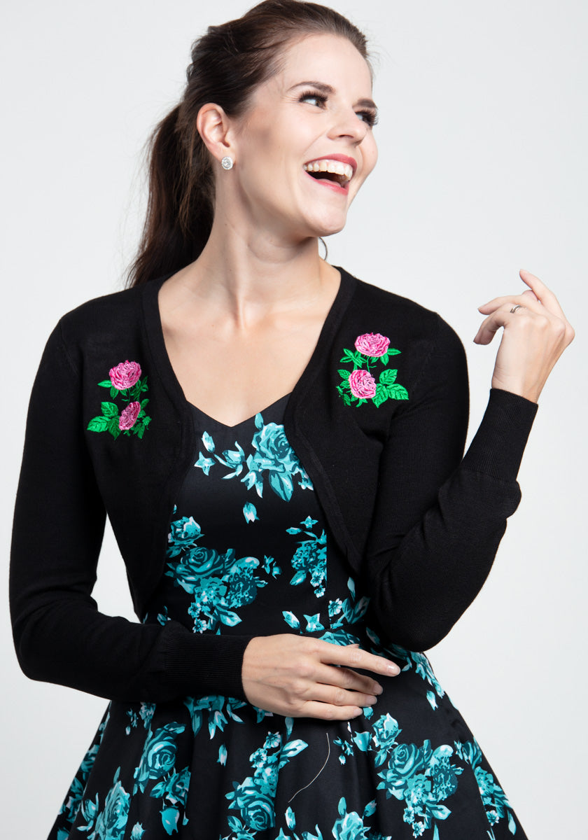 Centifolia Rose In Black Bolero-Hearts & Roses London-Miss Windy Shop