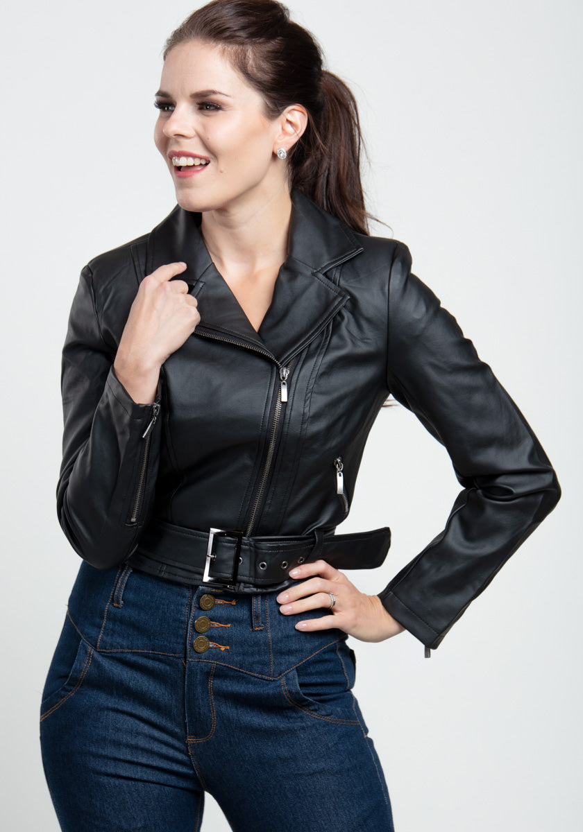 Ebony Lady Faux Leather Biker Takki-Hearts & Roses London-Miss Windy Shop