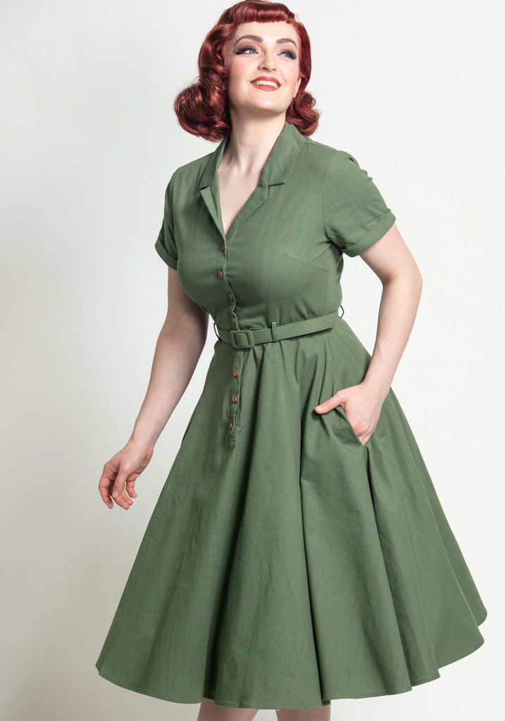 Caterina Olive Green Vintage Paitamekko-Collectif-Miss Windy Shop