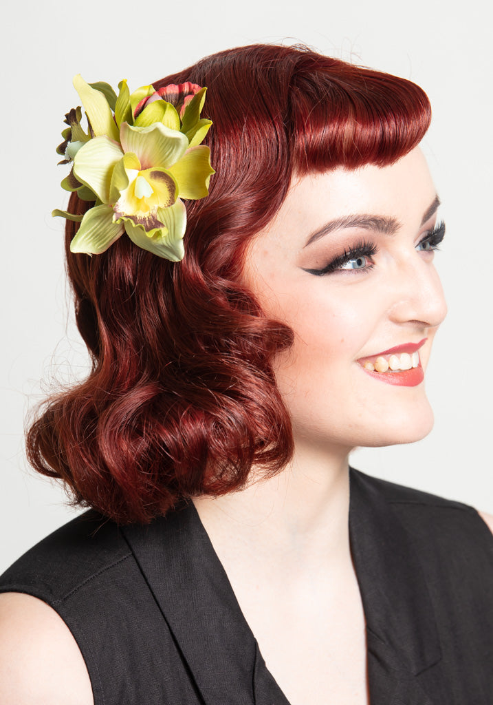 Aaliyah Orchid Lime Hiuskukka-Collectif-Miss Windy Shop