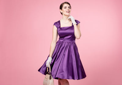 Swing Purple Satin Juhlamekko
