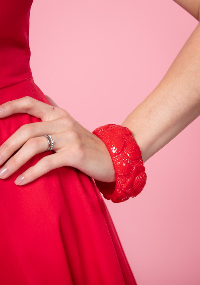 Carrie Red Strawberries Bangle Rannekoru Collectif