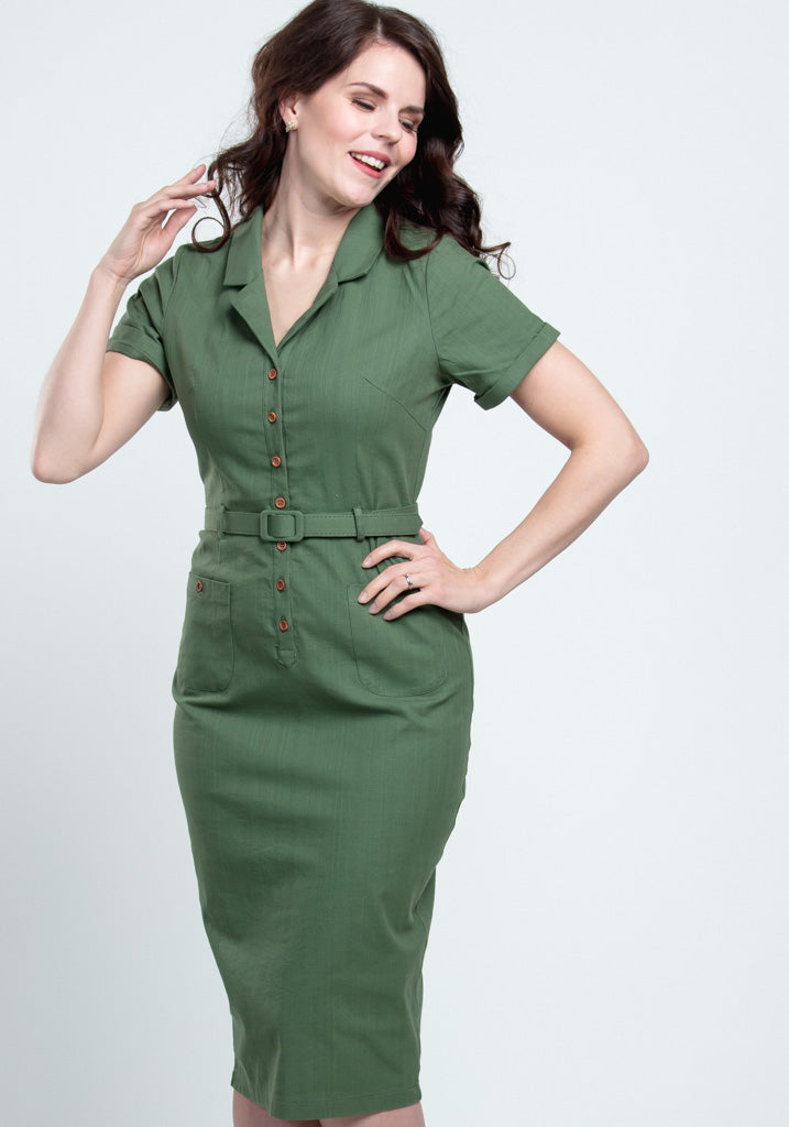 Caterina Olive Green Pencil Kynämekko-Collectif-Miss Windy Shop