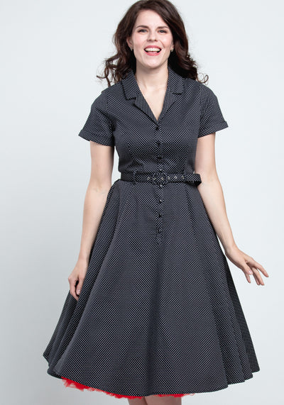 Caterina Black Mini Polka Dot Vintage Paitamekko-Collectif-Miss Windy Shop