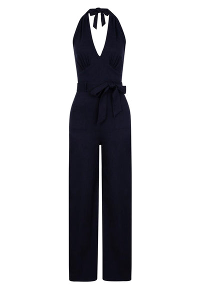 Bella Navy Jumpsuit (Ennakkotilaustuote)-Collectif-Miss Windy Shop