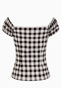 Dolores Black Gingham Top