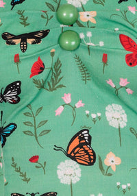 Dolores Vintage Green Butterfly Top