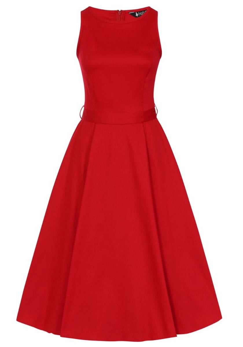 Hepburn Red Scarlet Kellomekko-Lady Vintage-Miss Windy Shop