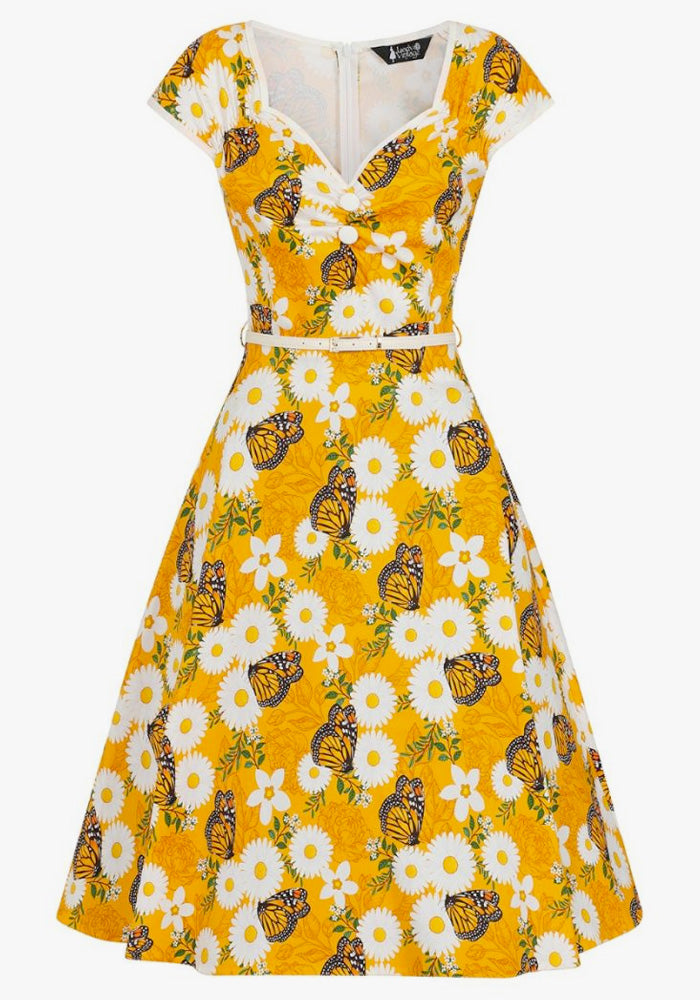 Isabella Butterfly Bloom In Yellow 50-luvun mekko-Lady Vintage-Miss Windy Shop