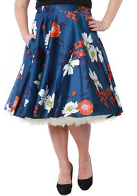 Japanese Floral On Blue Swing Skirt