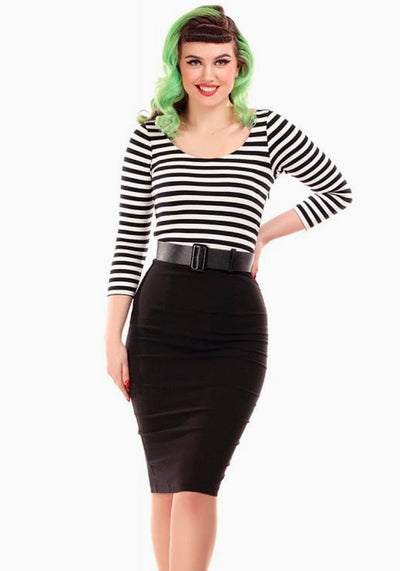 Manuela Black Striped Pencil Kynämekko-Collectif-Miss Windy Shop
