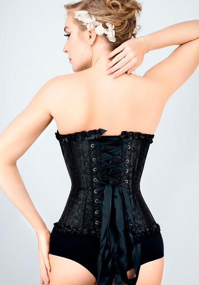 Black Brocade Sweetheart Overbust Korsetti (Ennakkotilaustuote)-Corset Story-Miss Windy Shop