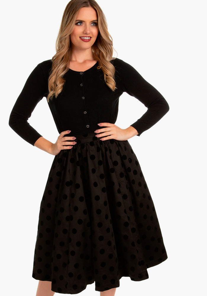 Suzie Black Polka Dot Swing Kellohame-Hearts & Roses London-Miss Windy Shop