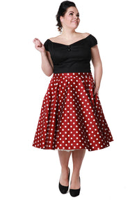 Wine Red Polka Dot Swing Skirt
